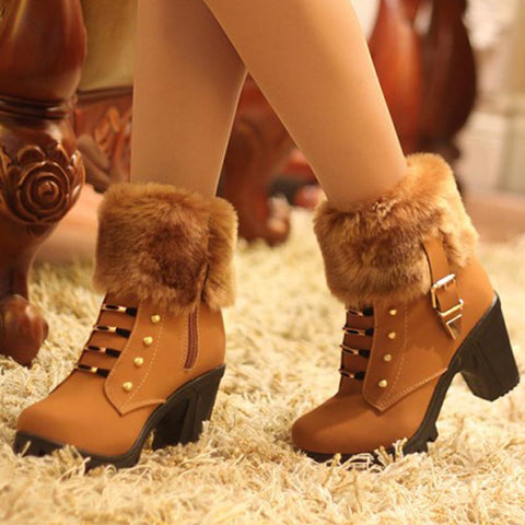 Metal buckle PU leather fur winter boots