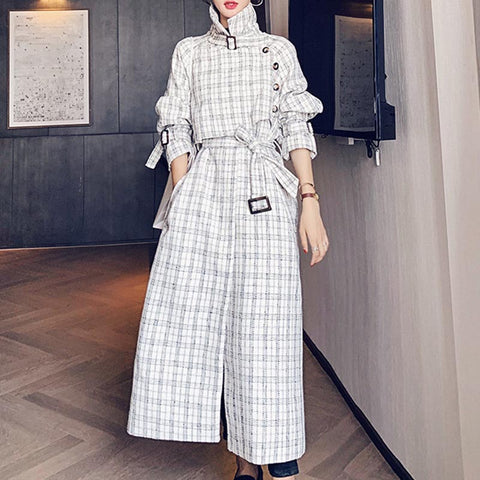Turn down collar elegant plaid belted long coats