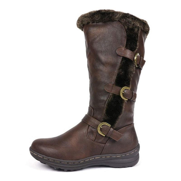 Pin-buckle solid PU leather winter boots