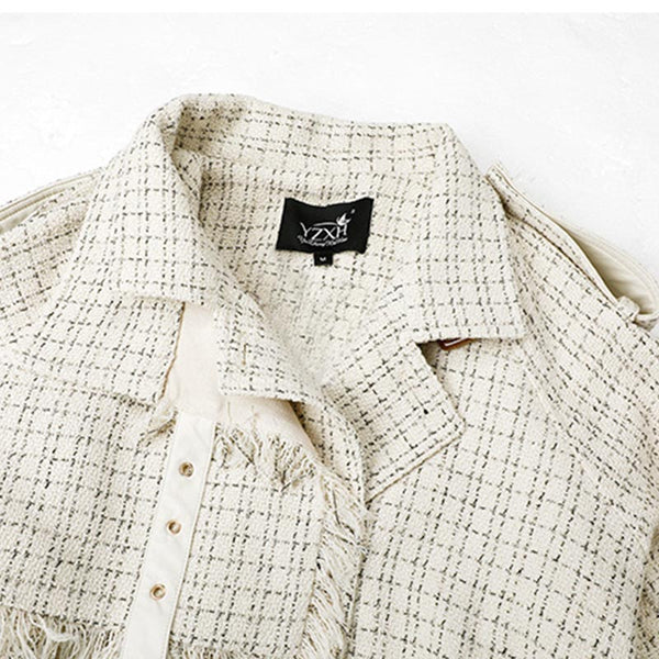Plaid tassel belted trench coats - Fancyever