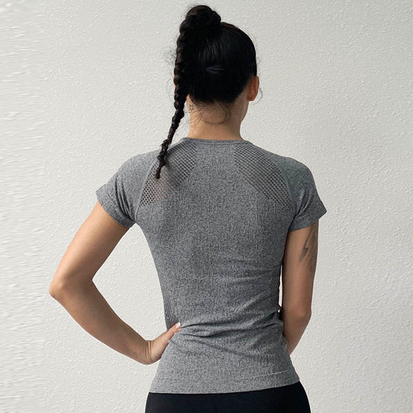 Openwork stretchy breathable active tees