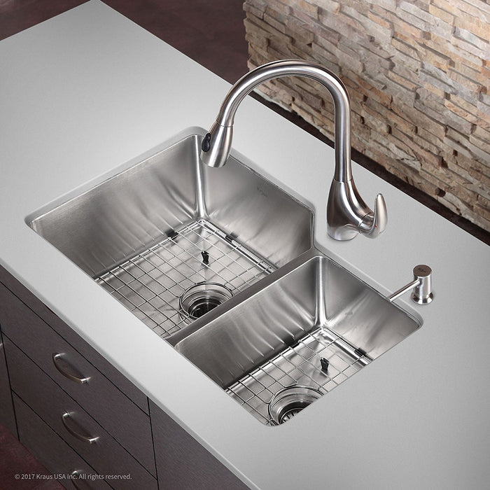 KRAUS KHU123-32 32 INCH UNDERMOUNT 60/40 DOUBLE BOWL 16 GAUGE STAINLESS STEEL KITCHEN SINK