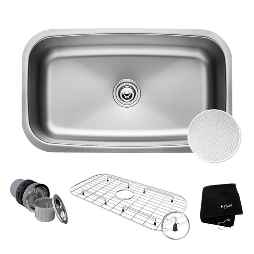 "KRAUS Outlast KBU14E MicroShield Scratch-Resist Stainless Steel Undermount Single Bowl Sink, 31.5"" 16 Gauge, Premier Series"