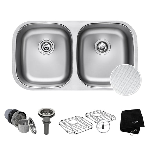 "KRAUS Outlast KBU22E MicroShield Scratch-Resist Stainless Steel Undermount 50/50 Double Bowl Sink, 32"" 16 Gauge, Premier Series"