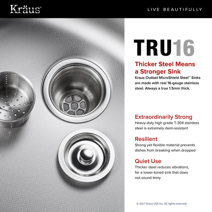 "KRAUS KBU22E Outlast MicroShield Scratch-Resist Stainless Steel Undermount 50/50 Double Bowl Sink, 32"" 16 Gauge, Premier Series"