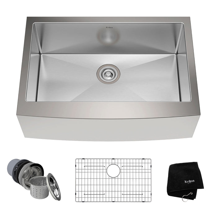KRAUS 30 Inch KHF200-30 Farmhouse Single Bowl Stainless Steel Kitchen Sink with NoiseDefend Soundproofing