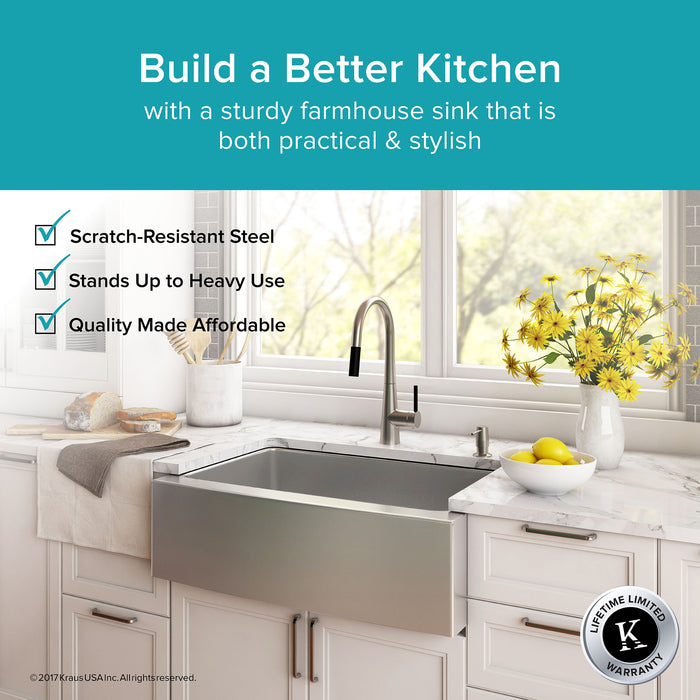 KRAUS KHF200-30 30 Inch Farmhouse Single Bowl Stainless Steel Kitchen Sink with NoiseDefend Soundproofing
