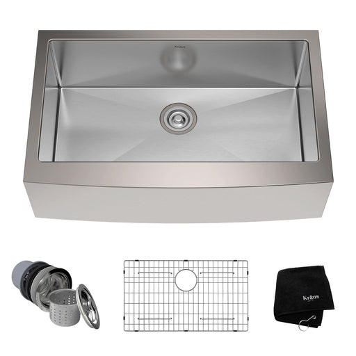 KRAUS 33 Inch KHF200-33 Farmhouse Single Bowl Stainless Steel Kitchen Sink with NoiseDefend Soundproofing