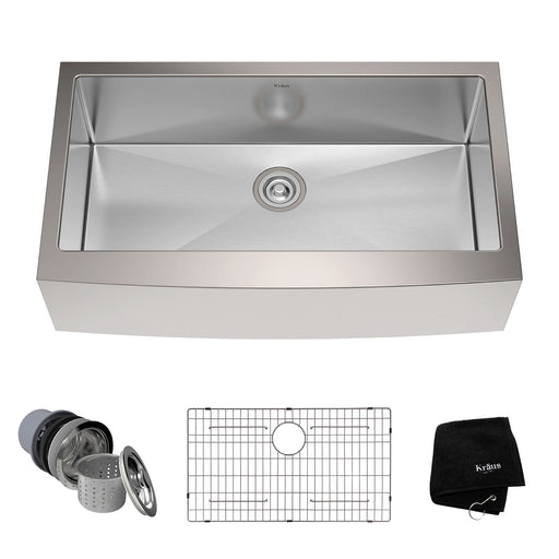 KRAUS KHF200-36 36 Inch Farmhouse Single Bowl Stainless Steel Kitchen Sink with NoiseDefend Soundproofing