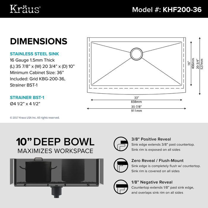 KRAUS 36 Inch KHF200-36 Farmhouse Single Bowl Stainless Steel Kitchen Sink with NoiseDefend Soundproofing