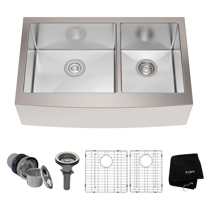 KRAUS 33 Inch KHF203-33 Farmhouse Double Bowl Stainless Steel Kitchen Sink with NoiseDefend Soundproofing