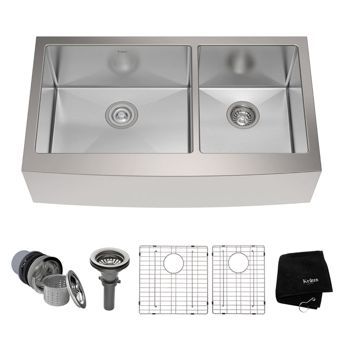 KRAUS KHF203-36 36 Inch Farmhouse Double Bowl Stainless Steel Kitchen Sink with NoiseDefend Soundproofing