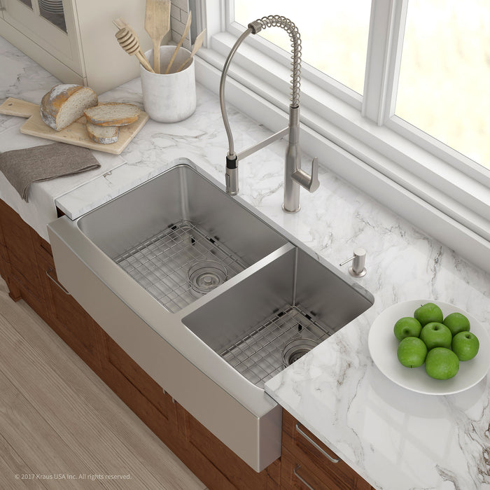 Kraus Khf203 36 36 Inch Farmhouse Double Bowl Stainless Steel Kitchen Sink With Noisedefend Soundproofing