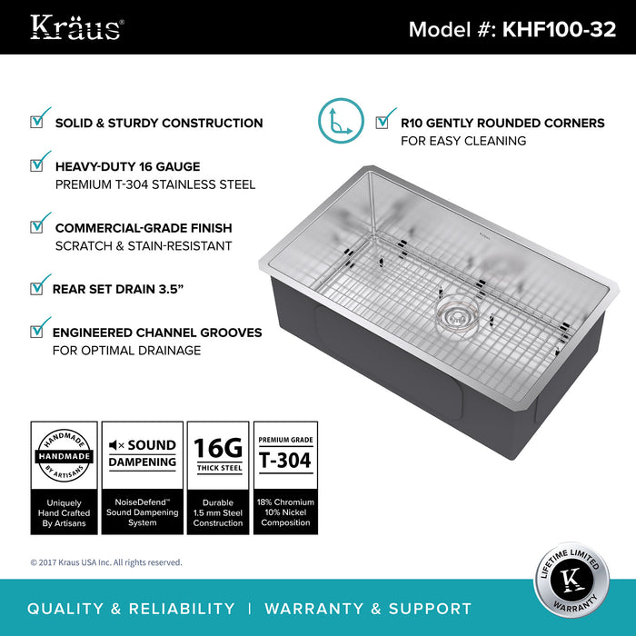 KRAUS KHU100-32 32 Inch R20 Undermount Single Bowl 16 Gauge Stainless Steel Kitchen Sink with NoiseDefend Soundproofing