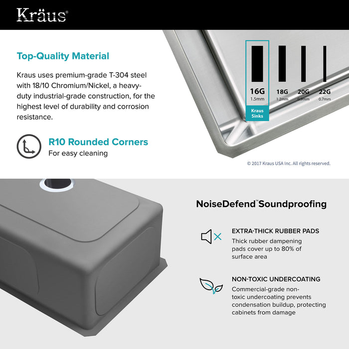 KRAUS 32 Inch Undermount Single Bowl 16 Gauge Stainless Steel Kitchen Sink with NoiseDefendª Soundproofing