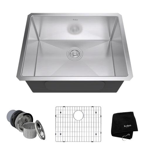 KRAUS 23 Inch Undermount Single Bowl 16 Gauge Stainless Steel Kitchen Sink with NoiseDefend Soundproofing khu101-23