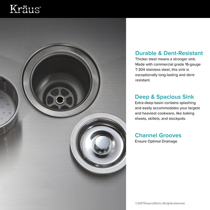 KRAUS KHU101-23 23 Inch Undermount Single Bowl 16 Gauge Stainless Steel Kitchen Sink with NoiseDefend Soundproofing