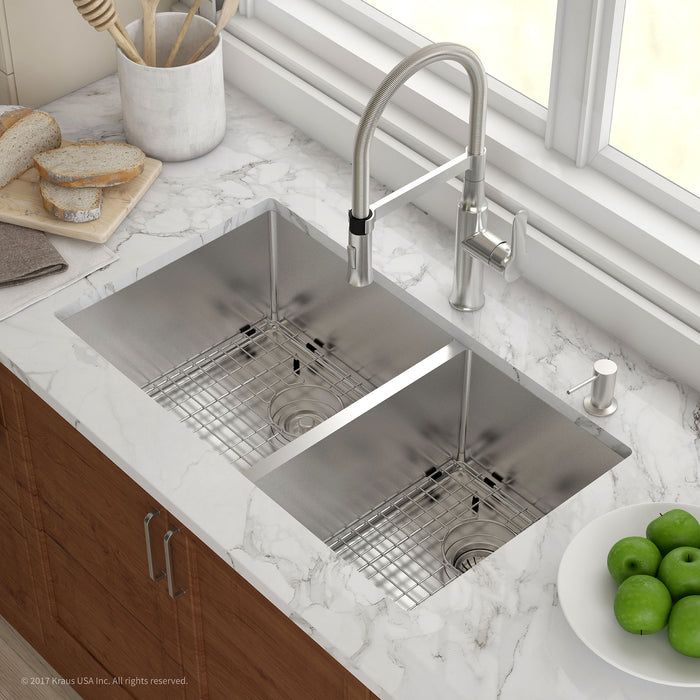 KRAUS KHU103-33 33 INCH R20 UNDERMOUNT 60/40 DOUBLE BOWL 16 GAUGE STAINLESS STEEL KITCHEN SINK