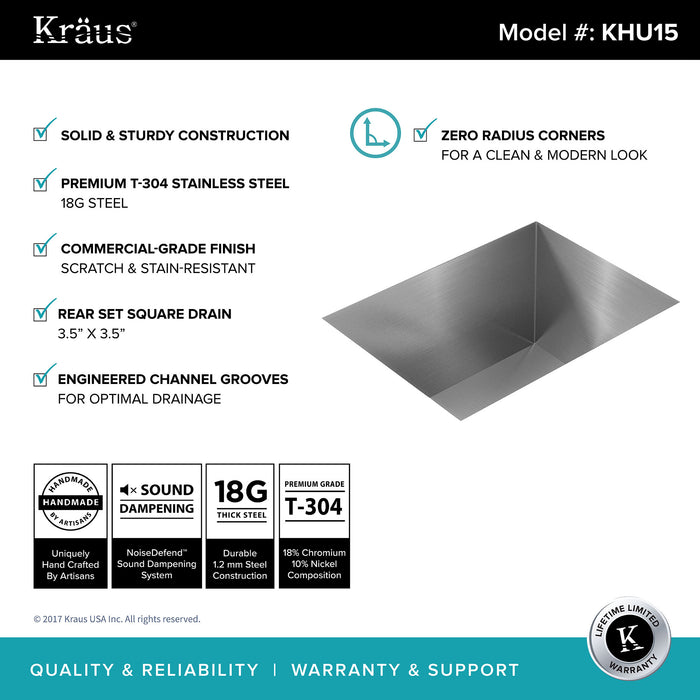 KRAUS Pax Zero-Radius 14 Inch Handmade Undermount Single Bowl 18 Gauge Stainless Steel Bar Sink with NoiseDefend Soundproofing