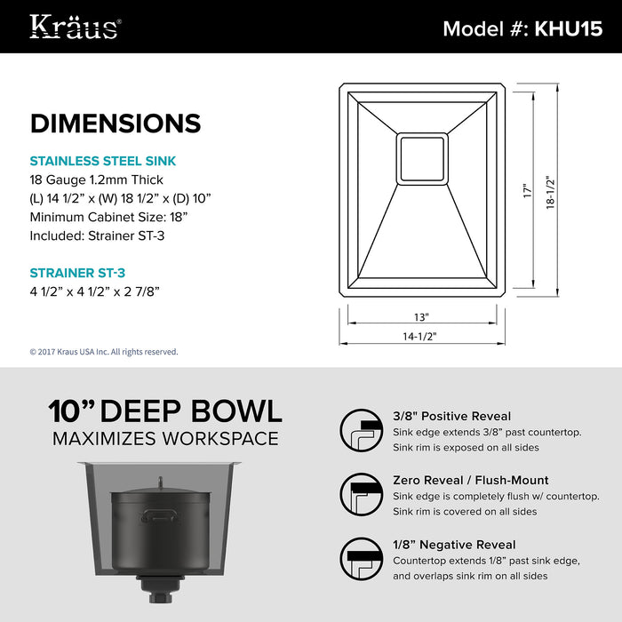 KRAUS KHU15 Pax Zero-Radius 14 Inch Handmade Undermount Single Bowl 18 Gauge Stainless Steel Bar Sink with NoiseDefend Soundproofing