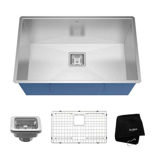 KRAUS KHU29 Pax Zero-Radius 28 Inch Handmade Undermount Single Bowl 16 Gauge Stainless Steel Kitchen Sink with NoiseDefend Soundproofing