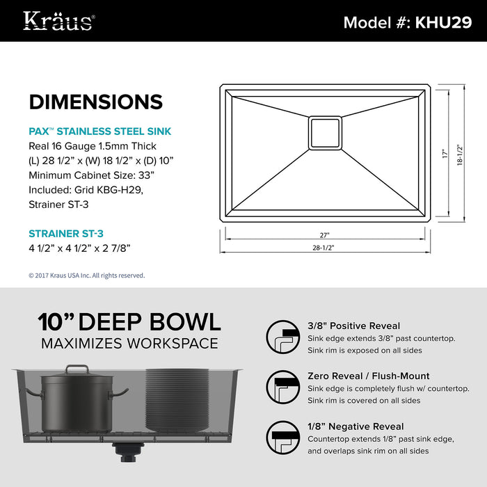 KRAUS Pax Zero-Radius 28 Inch KHU29 Handmade Undermount Single Bowl 16 Gauge Stainless Steel Kitchen Sink with NoiseDefend Soundproofing
