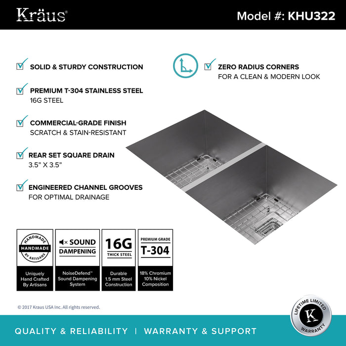 KRAUS KHU322 Pax Zero-Radius 31 Inch Handmade Undermount 50/50 Double Bowl 16 Gauge Stainless Steel Kitchen Sink with NoiseDefend Soundproofing