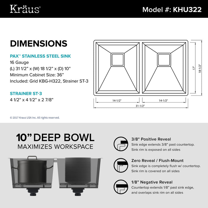 KRAUS Pax Zero-Radius 31 Inch Handmade Undermount 50/50 Double Bowl 16 Gauge Stainless Steel Kitchen Sink with NoiseDefend Soundproofing