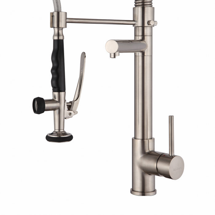 KRAUS KPF-1602SS Commercial-Style Single-Handle Kitchen Faucet with Pull Down Pre-Rinse Sprayer in Stainless Steel