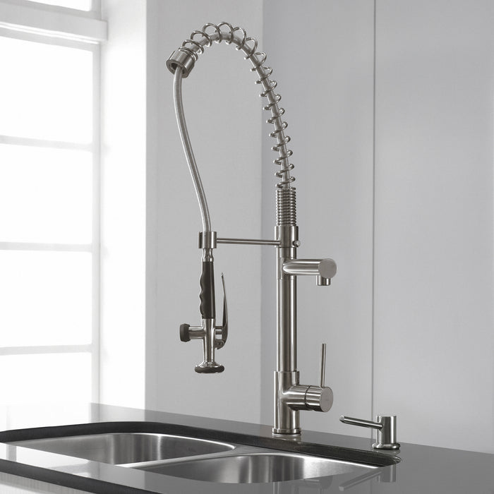 KRAUS Commercial-Style Single-Handle Kitchen Faucet with Pull Down Pre-Rinse Sprayer in Stainless Steel