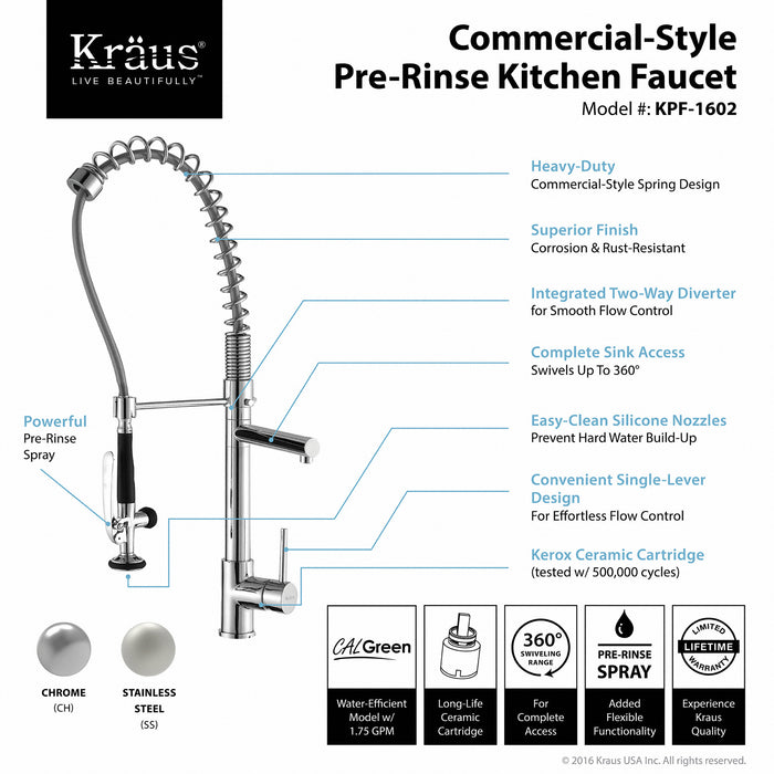 KRAUS Commercial-Style Single-Handle Kitchen Faucet with Pull Down Pre-Rinse Sprayer