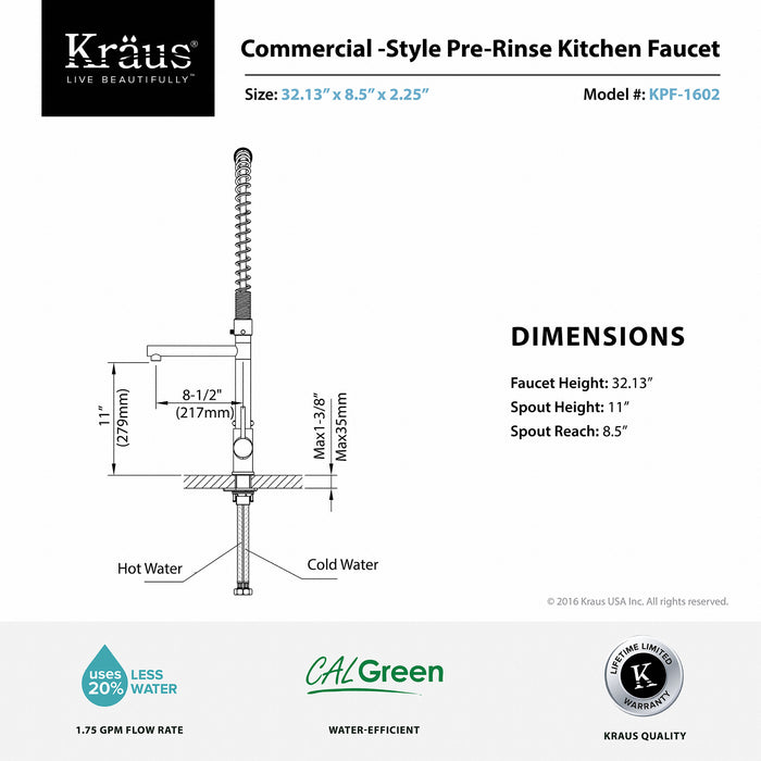KRAUS KPF-1602CH Commercial-Style Single-Handle Kitchen Faucet with Pull Down Pre-Rinse Sprayer