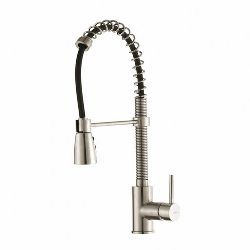 KRAUS KPF-1612SS Commercial-Style Single-Handle Kitchen Faucet with Pull Down Three-Function Sprayer in Stainless Steel