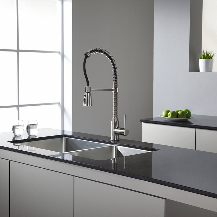 KRAUS Commercial-Style Single-Handle Kitchen Faucet with Pull Down Three-Function Sprayer in Stainless Steel