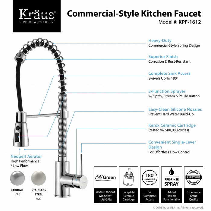KRAUS Commercial-Style Single-Handle Kitchen Faucet with Pull Down Three-Function Sprayer