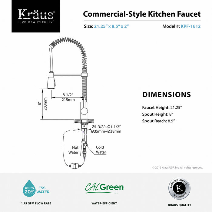 KRAUS Commercial-Style Single-Handle Kitchen Faucet with Pull Down Three-Function Sprayer kpf-1612ch