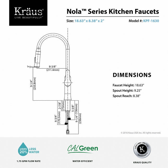 KRAUS KPF-1630CH Nola Single-Handle Kitchen Faucet with Pull Down Dual-Function Sprayer in Chrome
