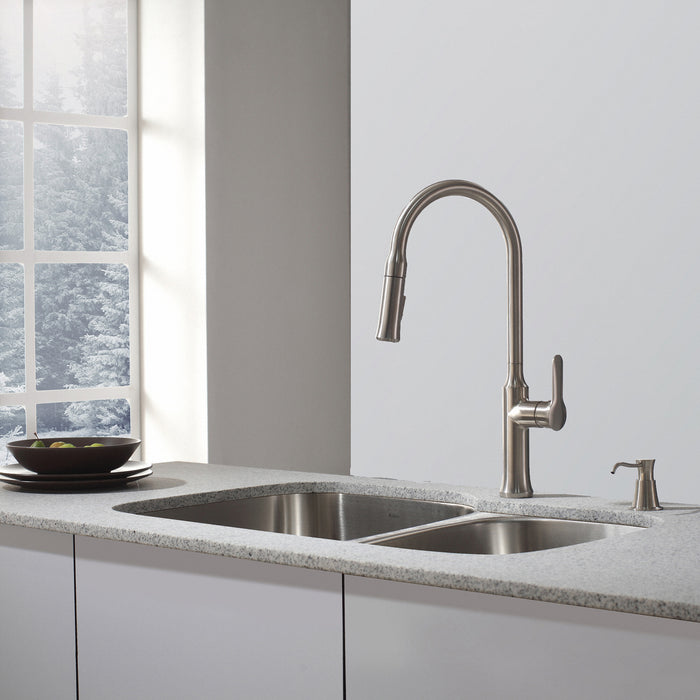 KRAUS KPF-1630SS Nola Single-Handle Kitchen Faucet with Pull Down Dual-Function Sprayer in Stainless Steel