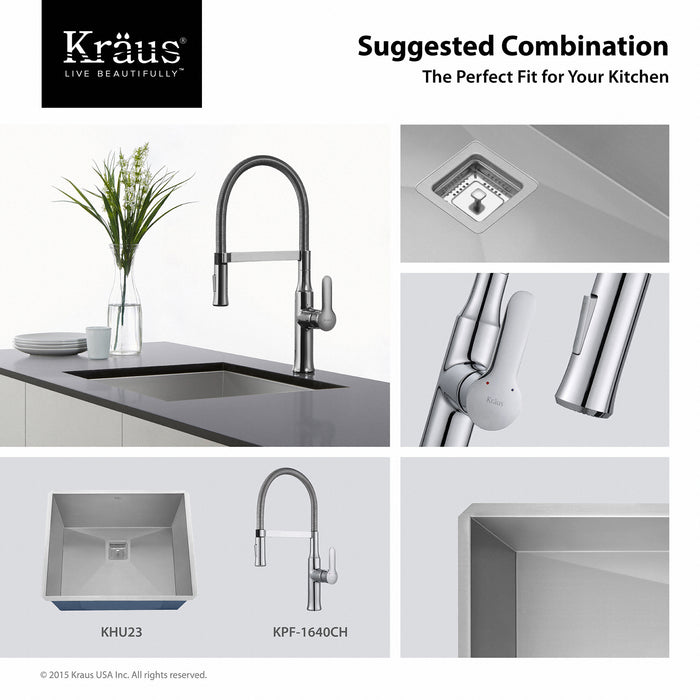 KRAUS KPF-1640CH Nola Flex Single-Handle Commercial Style Kitchen Faucet with Dual-Function Sprayer in Chrome