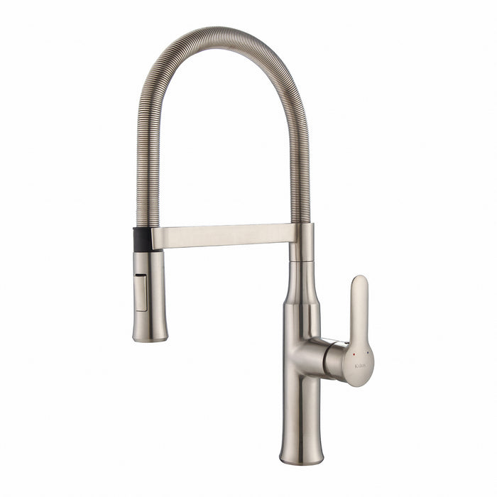 KRAUS KPF-1640SS Nola Flex Single-Handle Commercial Style Kitchen Faucet with Dual-Function Sprayer in Stainless Steel