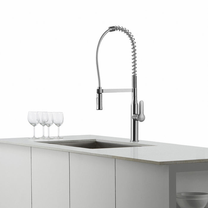 KRAUS Nola Single-Handle Commercial Style Kitchen Faucet with Dual-Function Sprayer in Chrome