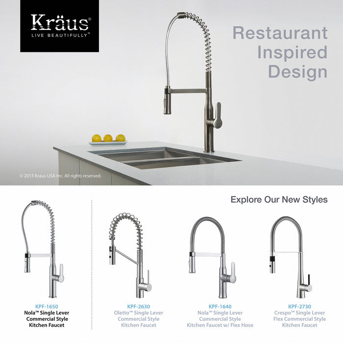 KRAUS KPF-1650CH Nola Single-Handle Commercial Style Kitchen Faucet with Dual-Function Sprayer in Chrome