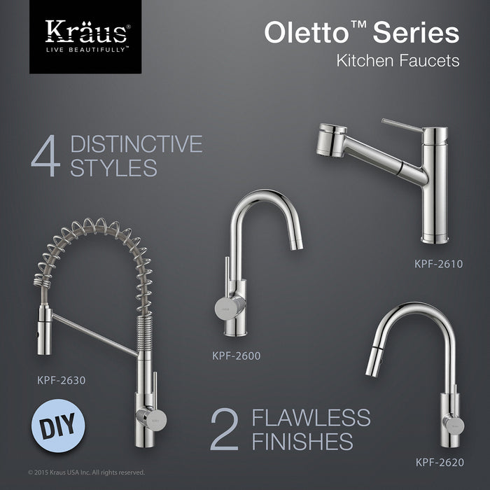 KRAUS Oletto Single-Handle Kitchen Bar Faucet in Chrome
