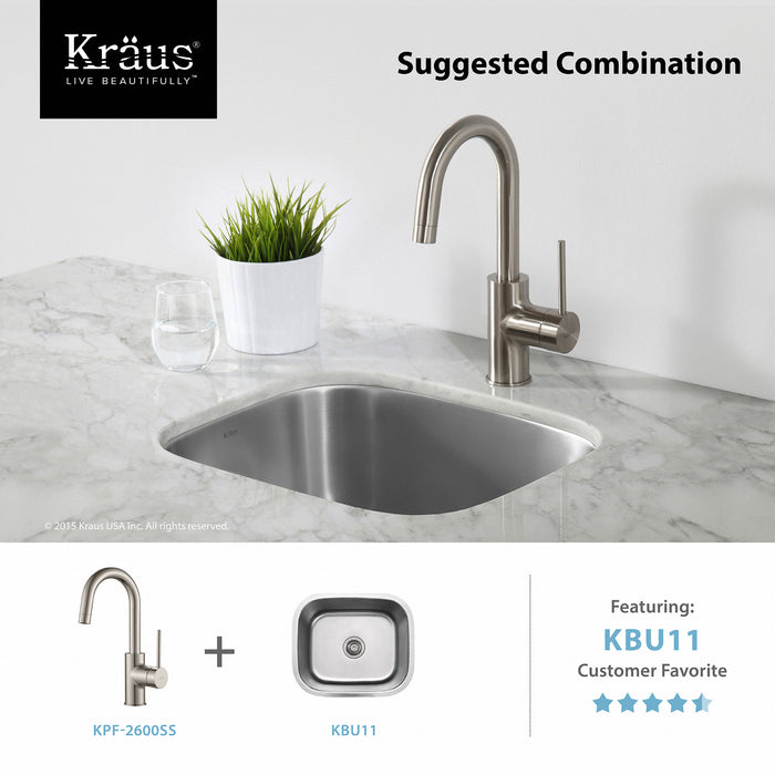 KRAUS Oletto Single-Handle Kitchen Bar Faucet in Stainless Steel