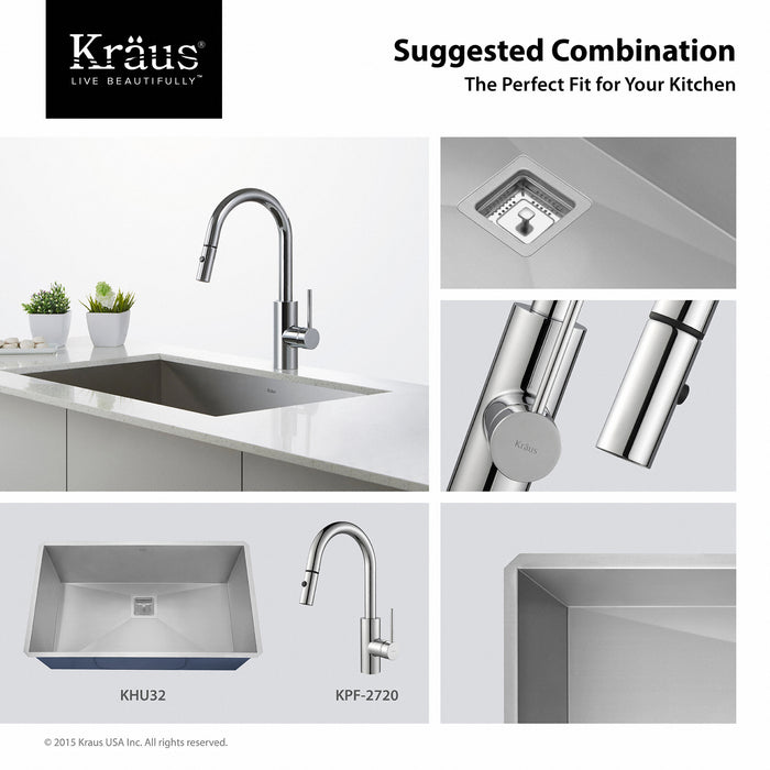 KRAUS Oletto Single-Handle Kitchen Faucet with Pull Down Dual-Function Sprayer in Chrome