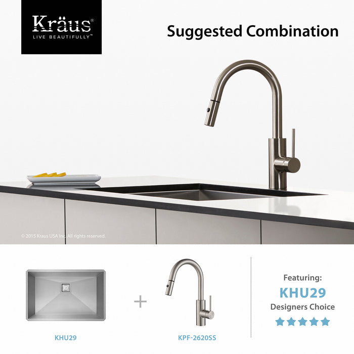 KRAUS Oletto Single-Handle Kitchen Faucet with Pull Down Dual-Function Sprayer in Stainless Steel