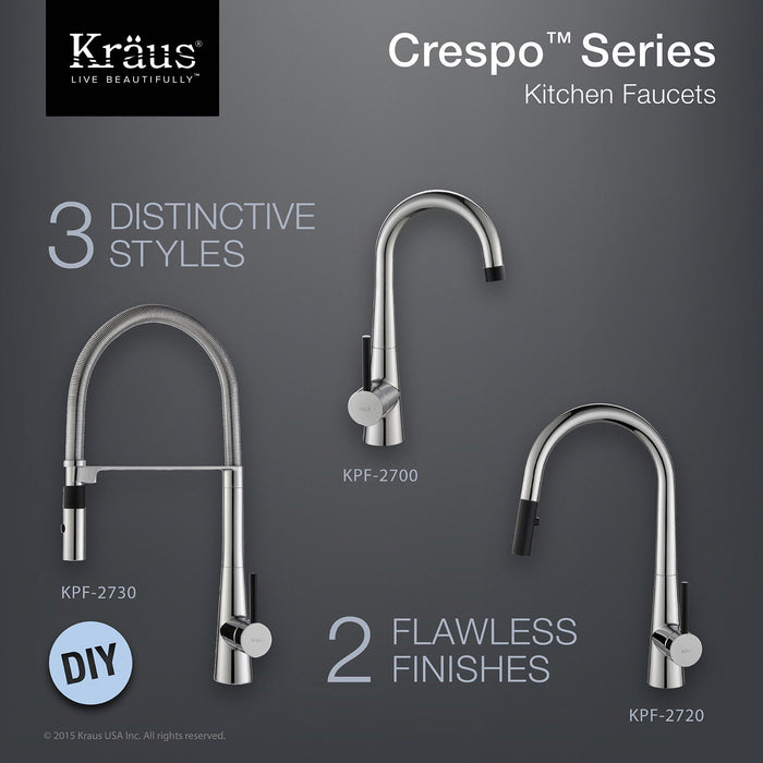 KRAUS KPF-2720CH Crespo Single-Handle Kitchen Faucet with Pull Down Dual-Function Sprayer in Chrome