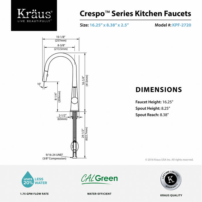 KRAUS Crespo Single-Handle Kitchen Faucet with Pull Down Dual-Function Sprayer in Stainless Steel