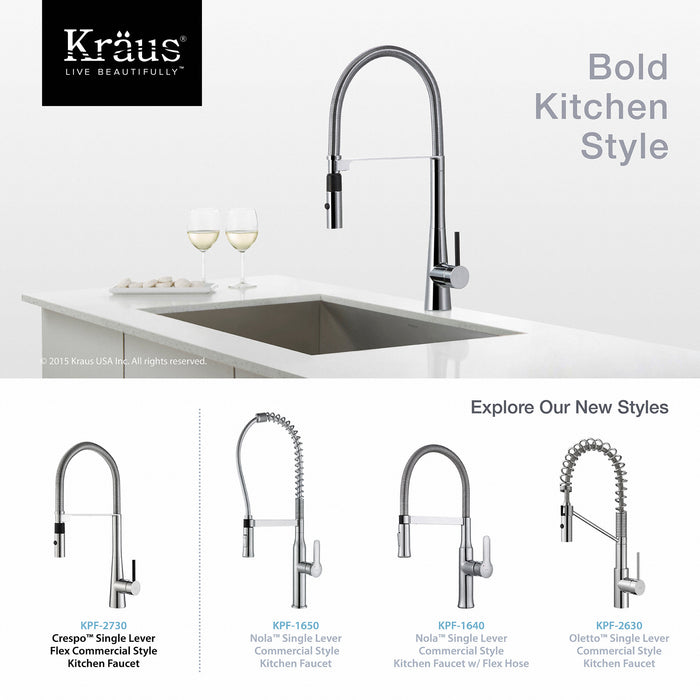 KRAUS KPF-2730CH Crespo Flex Single-Handle Commercial Style Kitchen Faucet with Dual-Function Sprayer in Chrome