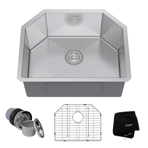 KRAUS 23 Inch Undermount Single Bowl 16 Gauge Stainless Steel Kitchen Sink with NoiseDefend Soundproofing khu122-23